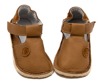 "Camel Toddler Leather Shoes, ""Button"",leather lining,Vibram sole,velcro fastening, support barefoot walking, sizes EU 16 to 24 - US 2 to 7.5"