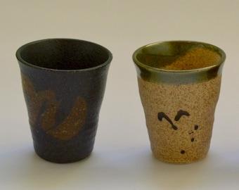 Pair of Vintage Pottery Beakers, Tumblers