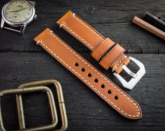 Brown genuine leather watch strap (22mm) + watch pins & tubes, watch strap, watch band, wrist band