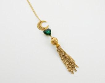 Crescent Moon Tassel Necklace - Emerald Moon Tassel Necklace - Gold Tassel Necklace