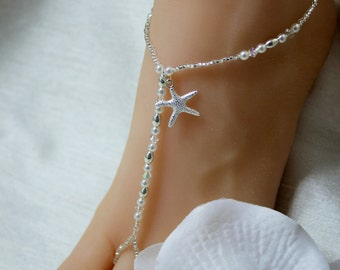 Pearl Wedding Sandals Beaded Barefoot Sandals Destination Bridal Foot Thongs Crystal Starfish Anklet Foot Jewelry Silver Beach Wedding Shoes