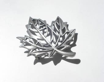 Vintage Pewter Leaf Brooch Pin  - JJ -  Fall Leaves Silver Jewelry