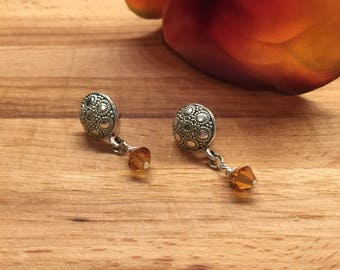 Earrings, Concho Button Post Ear Wire, Sliver Tone, Swarovski Crystals Topaz drop , Free Shipping, USA #64