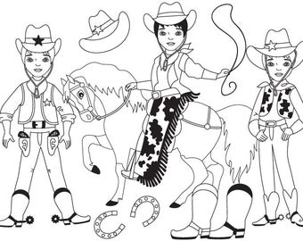 50% OFF SALE Cowboy Clipart - Digital Vector Wild West, Cowboy, Horse, Western, Cowboy Clip Art