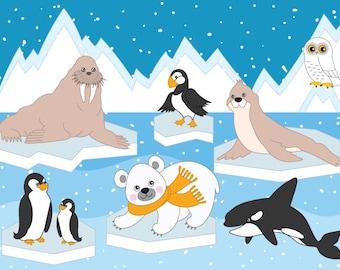 70% OFF SALE Arctic Animals Clipart - Digital Vector Arctic, Winter, Ice, Owl, Polar Animals Clip Art