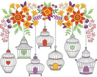 70% OFF SALE Bird Cage Clipart - Digital Vector Bird, Flowers, Autumn, Branch, Bird Cages Clip Art