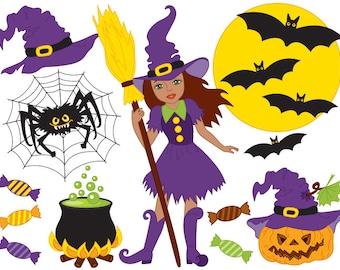 50% OFF SALE Halloween Clipart - Digital Vector African American Witch, Moon, Broom, Pumpkin Clip Art
