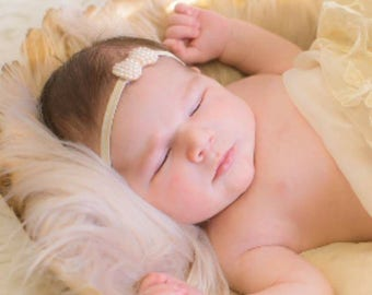 Baby Girl Headband Infant Toddler Headband Small Pearl Bow Headband
