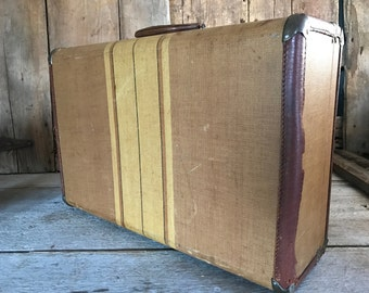 1940s Leather Tweed Pinstriped Suitcase, Stage Prop, Home Decor