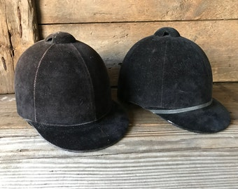 Vintage Equestrian Riding Hat Black or Brown Velvet, Chin Strap, Lined, Equestrian
