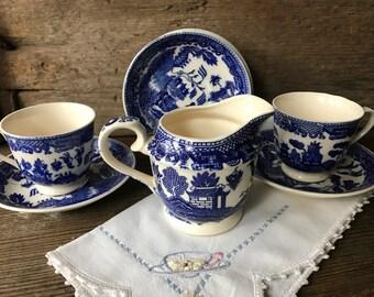 Vintage Blue Willow China Tea Set, Ironstone, Japan, Tea Cup, Saucer, Creamer, Child's Play Tea Set