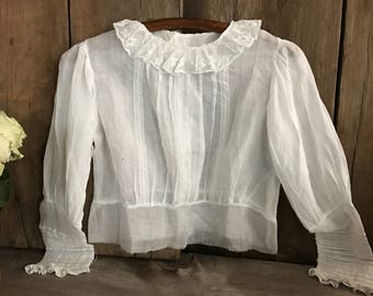 French White Cotton Batiste Blouse, Lace Collar, Button Down Shirt,