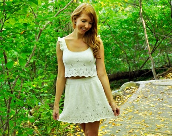 Twirl of Your Dreams Daisy Lace Eyelet Crop Top with Ruffles and Ribbon Bow and Skater Skirt KNITTING PATTERN