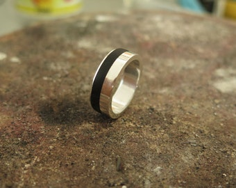 Silver 925 natural black wood ring- Sterling Silver Jewelry Wood Inlay