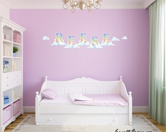Rainbow Letters in the Clouds Wall Decals,Removable and Repositionable Name Letter Fabric Wall Decals