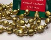 9 foot gold color Vintage large bead garland, (HR74)