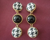 Vintage Clip Earrings, Gold Toned Base with Black and White, Dangle Style, Excellent Condition