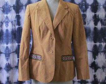 Embellished Blazer - Micro Suede Blazer - Vintage Upcycled Blazer - Women's Tan Blazer - Women's Large Blazer - One of a Kind