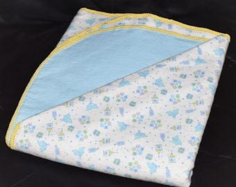 Baby Boy Double-Sided Flannel Blanket with Crochet Edge