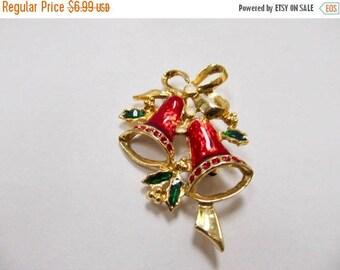 On Sale Vintage Enameled Christmas Bell Pin Item K # 1650