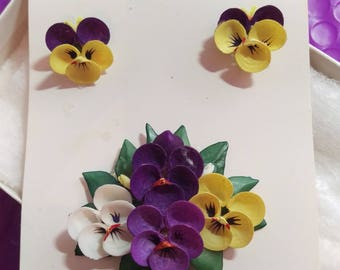 Vintage Shell Pansy Pin and Earring Set