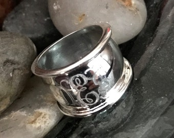 Sterling Silver Monogrammed Cigar Band Ring