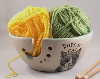 Large Yarn Bowl, Knitting Bowl, Badass Cat, - Pottery Yarn Bowl - Made to Order- Ceramic Yarn Bowl