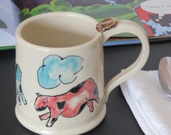 Coffee Mug, Cow Coffee Mug,  Handmade Ceramic Pottery, Hand painting and Gold lustre