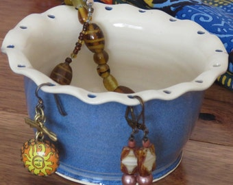 Earring Bowl, Jewelry Bowl , Blue and White