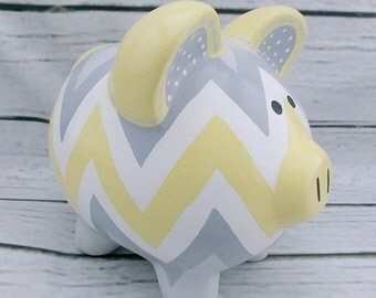 Yellow grey chevron, artisan hand painted ceramic personalized custom gray piggy bank