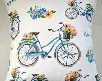 Cushion Cover in Vintage Bikes Print 16""