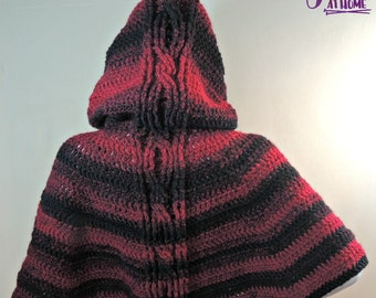 Hooded Cabled Cape - Crochet PATTERN PDF ONLY