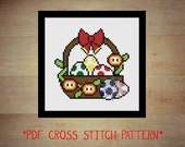 Mario themed easter basket cross stitch PDF pattern