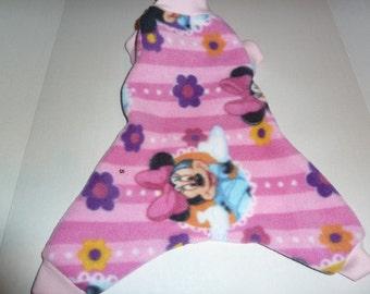 Small, Medium, Large Fleece Doggy Pajamas, Minnie Mouse PJs, Minnie Pink Stripe PJs, Doggy Onesie, Disney Minnie Mouse Pajamas