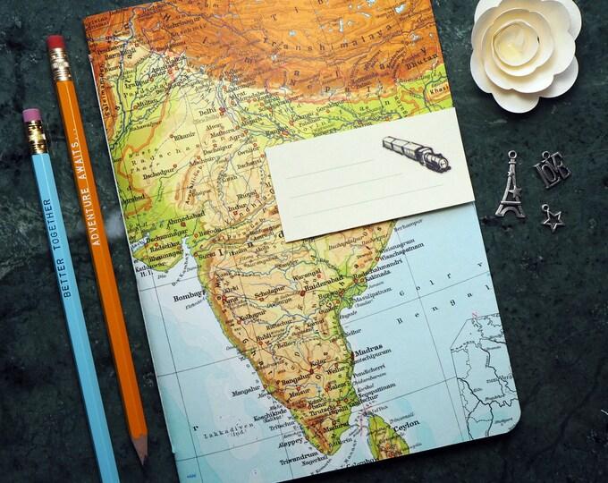 TAVEL JOURNAL India, Bombay, Mumbai, Goa, Sri Lanka, 5,7x8,2inch, 40 p. RULED travel journal, diary, notebook, map, vintage, upcycling