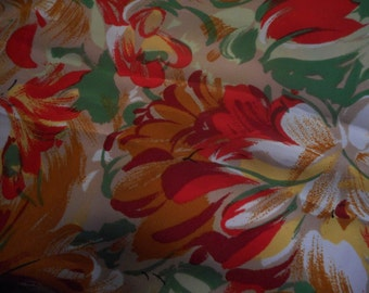 Vintage 1960's, 70's? Bright Gold Red-Orange, Ochre, Yellow, Green Floral Fabric, 4 yards plus