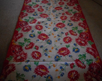 Vintage 1930's, 40's, 50's? Red, Green, Yellow, Blue Floral Cotton Toweling Border Fabric, 2 plus yards