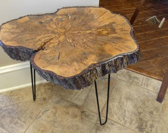 Live edge Ambrosia Maple accent table steel pin legs bark on end table
