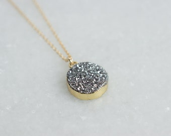 Dainty Silver Druzy Necklace, Natural Stone, Agate and Druzy Jewelry, Rachel Keppeler Designs
