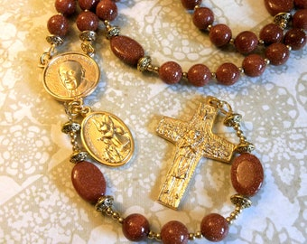 Pope Francis/Guardian Angel Rosary with Good Shepherd Cross-Traditional Catholic 5 Decade Rosary-Sold by Lily of Peace on Etsy