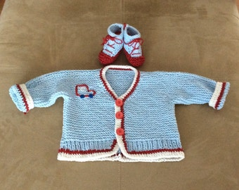 Blue Baby Car Cotton Cardigan Sweater and Bootie Set, 3-6m