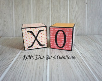X O wood blocks - hugs and kisses - love - valentines day - wedding - wood letters - xo wood - wood sign