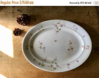 Large Antique Platter, Pope Gosser, Pink Floral Platter, Vintage China, Antique China, Vintage Platters, White Platter, Oval Platter, Gosser