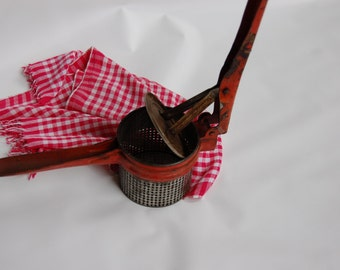 Primitive red handle potato ricer. Farmhouse potato ricer. Masher Rustic Red masher