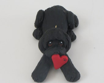 Labradoodle Dog Valentines Christmas Ornament Polymer Clay Goldendoodle Black