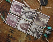 Nomadic necklace-hippie necklace-rustic style-bohemian necklace-portraits of Native Americans-ethnic look-turquoise-sepia-multicolored