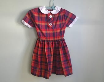 1950's Plaid Girls Dress - Vintage 50s Fit and Flare Dress - It Must Be Love Dress