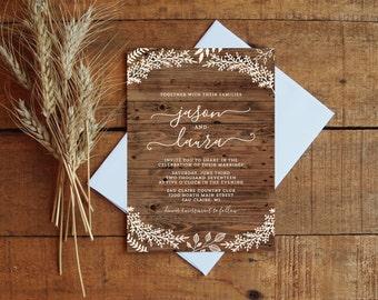 Wedding Invitation Set Woodgrain Floral Fall