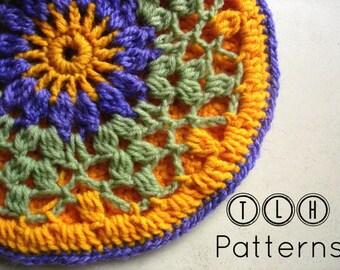 Crochet potholder pattern, crochet mandala pattern, Viola, Pattern No. 2