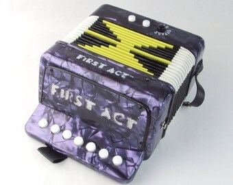 Toy Accordion - Vintage 1950s Childrens Musical Instrument - Beginner Squeeze Box - Concertina Type Piano by First Act